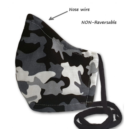 NON-REVERSABLE WITH NOSE WIRE,  Grey Camo - Kids