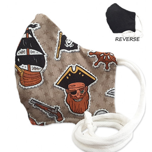Kids Brown with Pirate Theme Cloth Mask