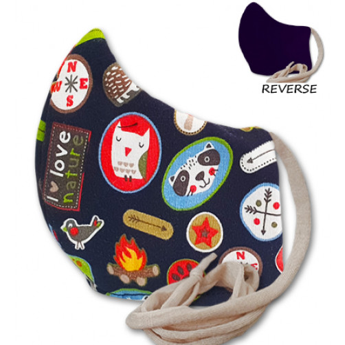 Kids Navy Camping Theme Cloth Mask