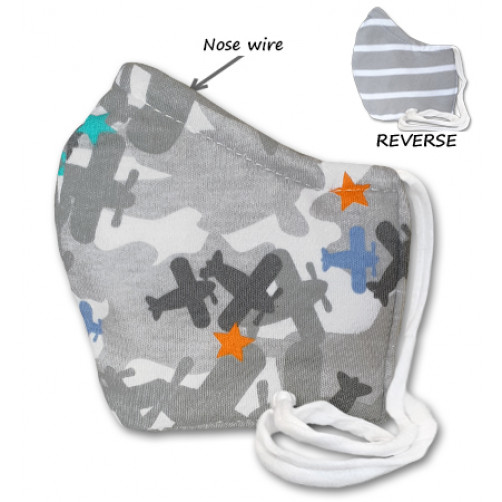 REVERSABLE WITH NOSE WIRE,  Grey Planes - Kids