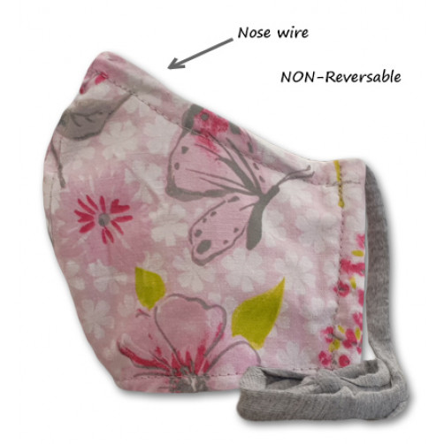 NON-REVERSABLE WITH NOSE WIRE,  Pink Grey Green Floral - Kids