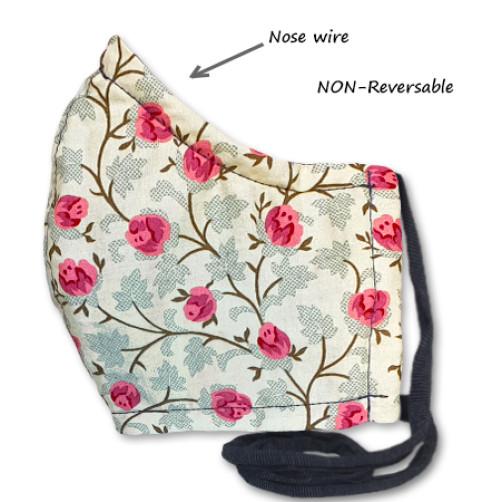 NON-REVERSABLE WITH NOSE WIRE, Cream Pink Rose - Medium
