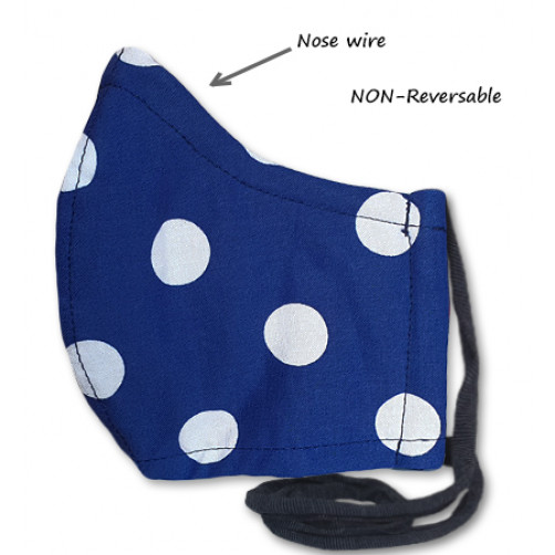 NON-REVERSABLE WITH NOSE WIRE, Blue White Dots - Medium