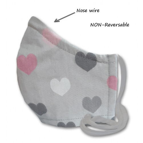 NON-REVERSABLE WITH NOSE WIRE,  Grey Pink Hearts - Medium