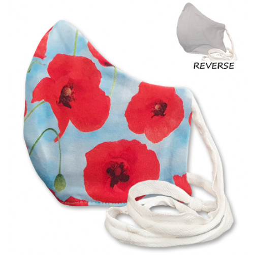 Medium Blue with Red Poppies Cloth Mask