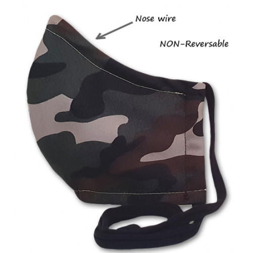 NON-REVERSABLE WITH NOSE WIRE,  Green Camo - Large