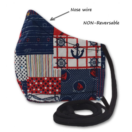 NON-REVERSABLE WITH NOSE WIRE,  Red Navy Anchors - Large