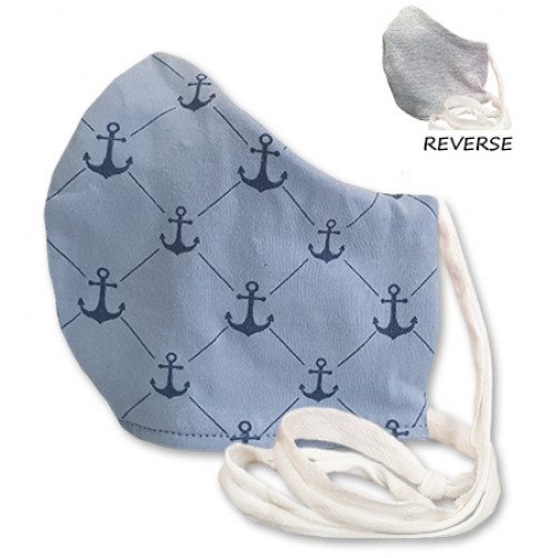 Large Blue & Navy Anchors Cloth Mask