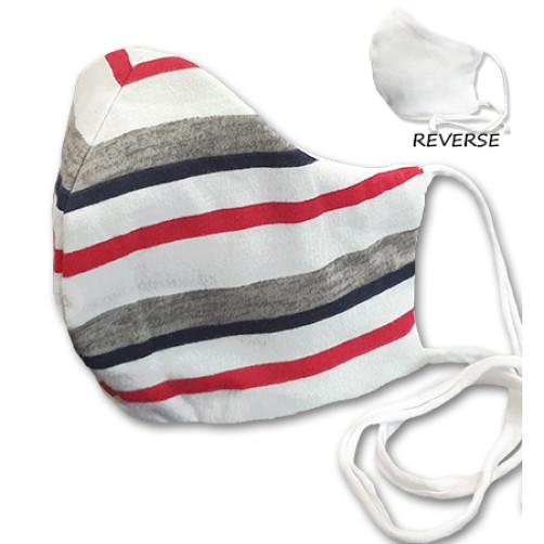 Large White Red Grey Blue Stripe Cloth Mask