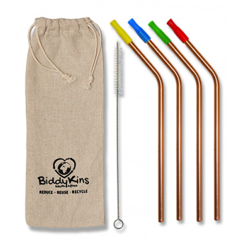 Stainless Steel (Rose Gold) Straws - 4 Pack