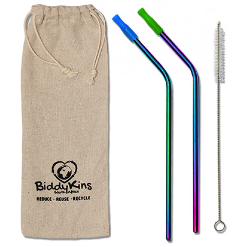 Stainless Steel (Rainbow) Straws - 2 Pack