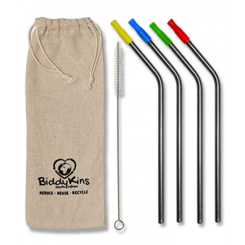Stainless Steel (Silver) Straws - 4 Pack