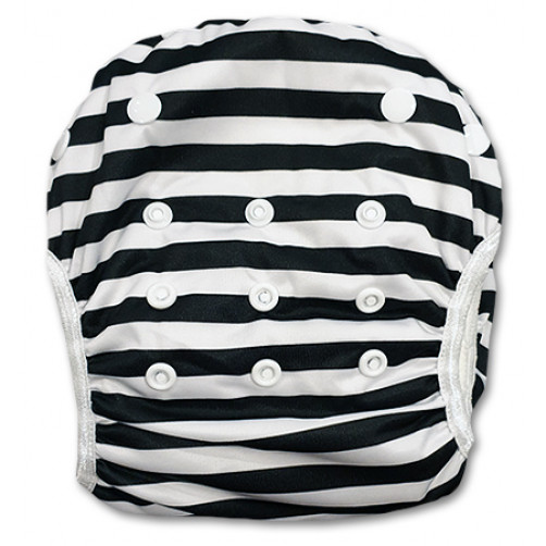 SW061 Black& White Stripe Swim Nappy