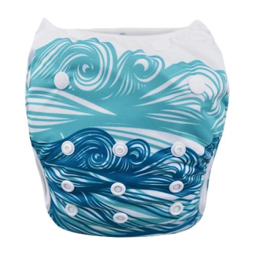 SW003 Blue Turquoise Waves Swim Nappy