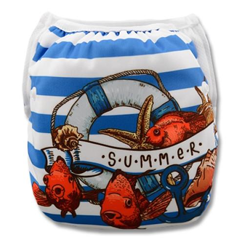 SW006 Summer Fish Stripe Swim Nappy