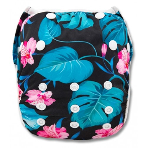 SW012 Pink Flowers Large Leaves Swim Nappy