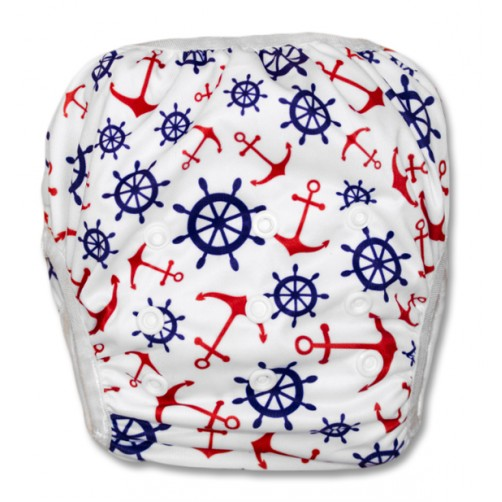 SW022 White Red Anchors Swim Nappy