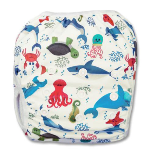 SW025 White Undersea Creatures Swim Nappy