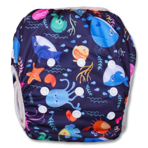 SW027 Dark Purple Sea Creatures Swim Nappy
