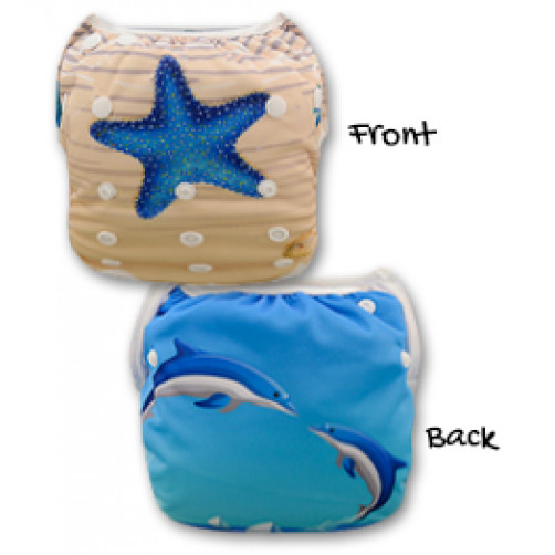SW028 Star Fish &  Dolphins Swim Nappy