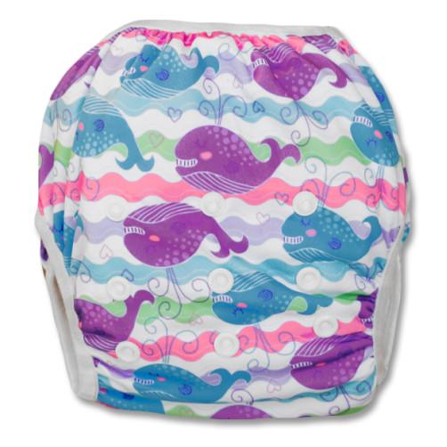 SW029 Purple Blue Whales Swim Nappy