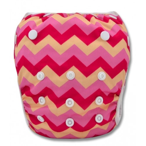 SW030 Pink & Cream Chevron Swim Nappy