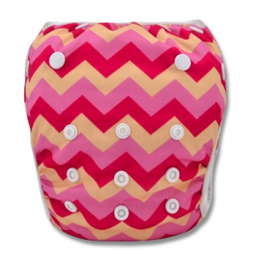 SW030 Pink & Cream Chevron Swim Nappy