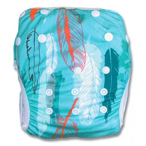 SW036 Turquoise Feathers Swim Nappy