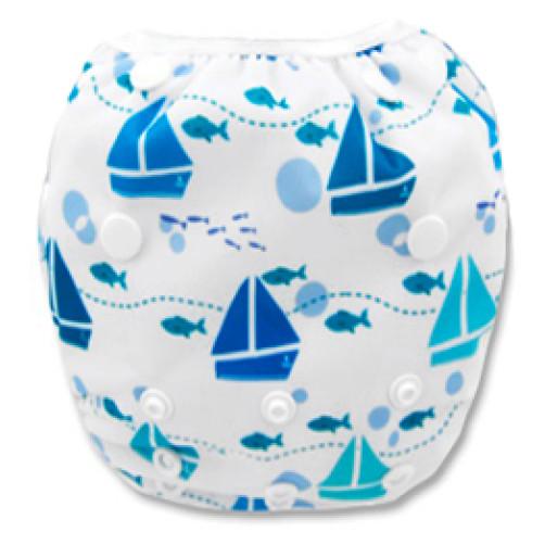 SW041 White with Blue Yachts Swim Nappy