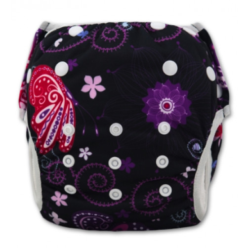 SW042 Purple Red Butterfly Floral Swim Nappy