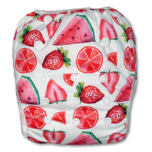 SW049 White With Pink Fruit Swim Nappy