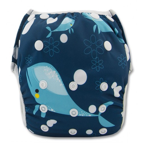 XL: Navy Whale Swim Nappy