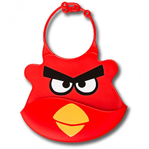 Red The Angry Bird Silicone Bib